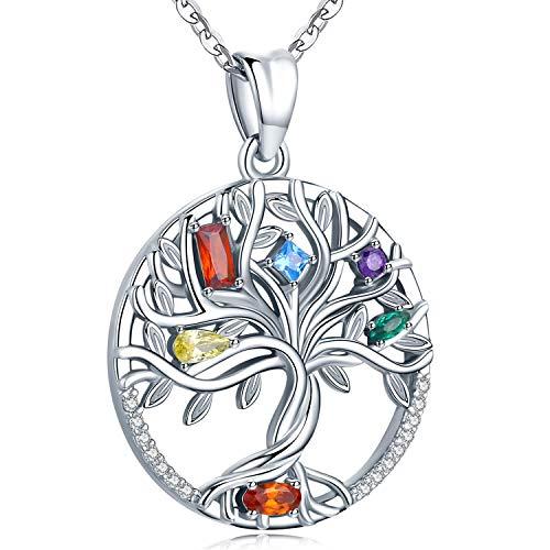 Friggem 925 Sterling Silber Halskette, Zierlicher Baum Des Lebens Anhänger für Damen Frauen Mädchen mit Geschenkbox, Kettenlänge 46 cm (Unendlichkeitssteine)