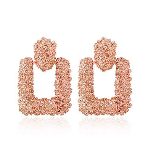 Demino 1 Paar Frauen Mädchen Geometrische quadratische Ohrringe baumeln quadratische Ohrringe Ohrschmuck Platz Tropfen-Bolzen-Ohrringe legieren hängende Ohrschmuck Roségold