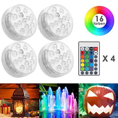 HOVNEE Unterwasser Licht, RGB Multi Farbwechsel Wasserdichte LED Leuchten für Schwimmbad,Weihnachten, Halloween, Weihnachten,Fish Tank Dekorationen,Dekoration unterwasserlicht mit fernbedienung