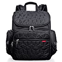 Bebamour Changing Bag Backpack with Changing Mat, Waterproof Nappy Bag Backpack for Mom and Dad, Baby Diaper Bag Nappy Back Pack with Stroller Hook (Black)