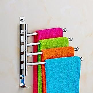 Togather Nuevo soporte de toalla de acero inoxidable montado en la pared Soporte de toallas de cocina de baño con diseño de gancho (4 brazos)