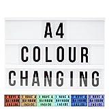 Freudenhaus Boîte lumineuse à messages avec 90 lettres, chiffres et symboles interchangeables - change de couleur - formatA4