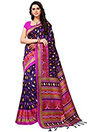 Kanchnar Women's Multicolor Poly Silk Floral Printed Saree