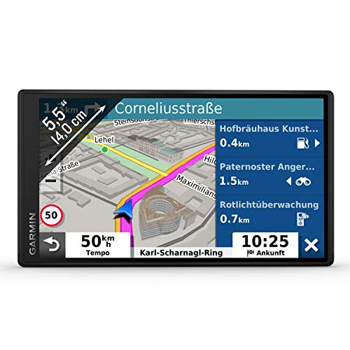 Garmin DriveSmart 55 MT-D EU Navi - Rahmenloses Touch-Display, 3D-Navigationskarten und Live-Traffic Via DAB+ Digital Navigation System