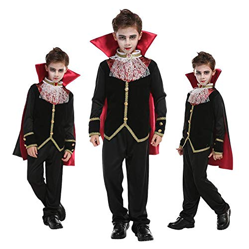 XBSD Party Kostüme, Gothic Vampire Kostüm Deluxe Set, Kids Halloween Party Favors, Dress Up, Rollenspiele und Cosplay, für Kleinkinder, Kinder und (Super Deluxe Gothic Vampir Kostüm)