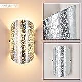 Wandleuchte Teramo aus Glas in Silberfarben – Up & Down Wandspot Halbrund mit Struktur-Effekt für Wohnzimmer, Schlafzimmer, Flur - Wandstrahler E14-Fassung 40 Watt – mit Lichteffekt an der Wand