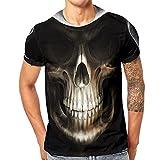 QUINTRA Herren T-Shirt Schädel 3D Druck T-Shirts Kurzarm T-Shirt Bluse Tops (Schwarz GGG, 2XL)