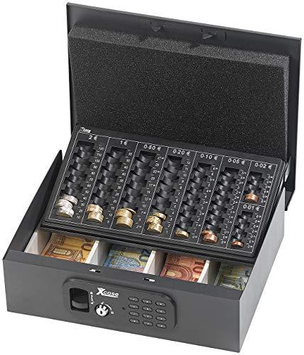 Xcase Geldkasse: Geldkassette mit Münz-Zähleinsatz und elektronischem Schloss (Geldkassetten mit Münzbretter)