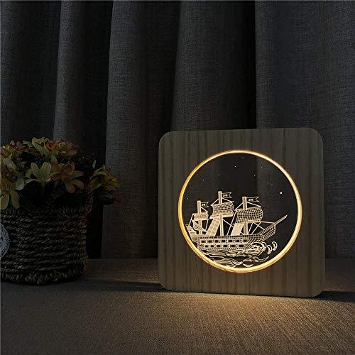 Nachtlicht Schlummerleuchte Stimmungslichter Ozean Boot Schiff 3D Usb Led Arylic Abs Lampe Tischlichtschalter Control Carving Lampe Für Kinderzimmer Dekoration -