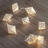 DecoKing 46982 10er LED-Lichterkette auf silbernem Draht warmes Weiß statisch batteriebetrieben LED-Girlande Richi