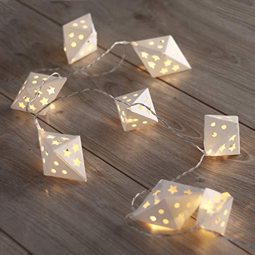 DecoKing 46982 10er LED Lichterkette auf silbernem Draht warmes Weiß statisch batteriebetrieben LED Girlande Gartendeko Richi - Bettrahmen Weiß
