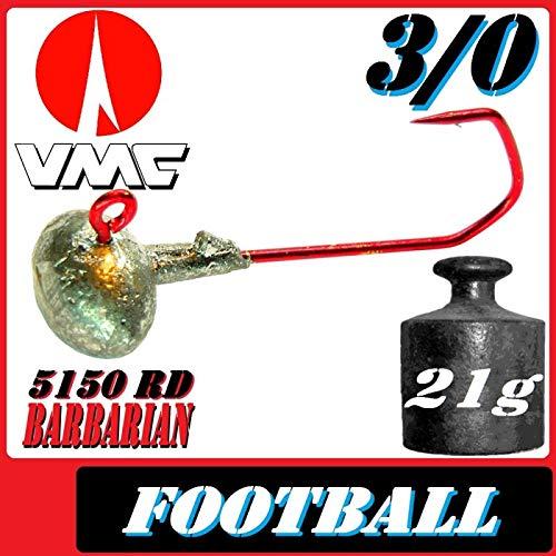 Adrenalin-Fishing VMC Jighaken Jigkopf Football Eierkopf Größe 3/0 21g 10 Stück