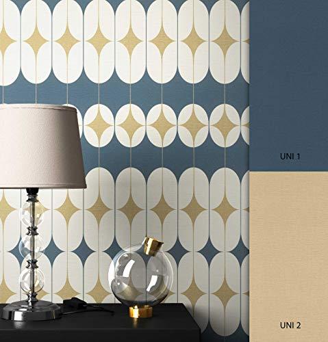NEWROOM Tapete grafisch blau Retromuster Retro Vliestapete Vlies Tapete Geometrisch glänzend Glamour inkl. Tapezier Ratgeber ǀ Grafik