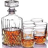 Homezone grande stile vintage Cut Glass whisky caraffa con 6bicchieri. 900ml in vetro con incisione bevande decanter vino caraffa con occhiali Home bar set regalo per lui/lei.