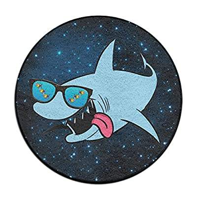 Shark With Glass Round Floor Rug Doormats For Dining Room Bedroom Kitchen Bathroom Balcony