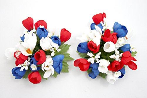swerox: Spring Crocus Kerze Ring Patriotische rot wei? und blau???Set von 2