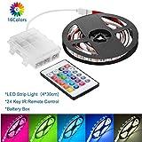 Striscia luminosa a LED Impermeabile RGB 5050 Striscia flessibile con scatola alimentata a batteria e 24 tasti IR Controller per illuminazione da interno Decorazione per cucina domestica(4x30 cm)