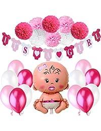 Jonami Decoraciones Fiesta de Bienvenida de Bebé Niña   Bandera Es Una Chica It's a Girl + Globo de Papel de Aluminio a Recién Nacida + 8 Pompones + 12 Globos. Accessorios Baby Shower