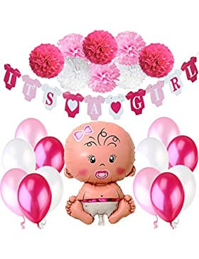 Jonami Babyparty Madchen / Baby Shower Mädchen / Babyparty Deko - It's a Girl Rosa Girlande + 1 XXL Neugeborene...