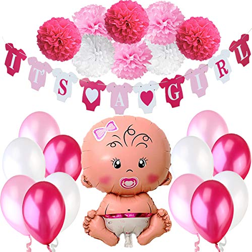 Jonami Babyparty Madchen / Baby Shower Mädchen / Babyparty Deko - It's a Girl Rosa Girlande + 1 XXL Neugeborene Folienballoon + 8 Blumenpuscheln + 12 Ballons. Baby Party / Babydusche Dekorations