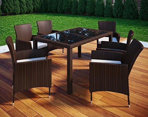 VCM Polyrattan 140x90 Gartenmöbel Essgruppe Sitzgruppe Glas Rattanmöbel  Gartenset 6 Stühle + 1 Tisch, Braun
