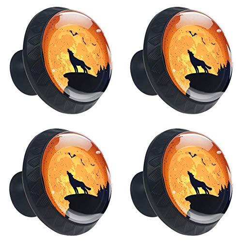 TIZORAX Halloween-Hintergrund mit Wolf Schubladenknauf, Zuggriffe, 30 mm, 4 Stück Glas-Schrank-Zuggriffe für Zuhause, Küche, Schrank
