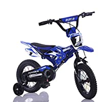 """FJ-MC Kids Bike, 12"""" & 16"""" Child Bicycle, Simulated Motorcycle Design, with Training Wheels, for 2 5 8 Years Boys"""