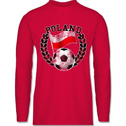 EM 2016 - Frankreich - Poland Flagge & Fußball Vintage - Longsleeve /  langärmeliges T-