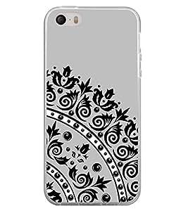 Fuson Designer Back Case Cover for Apple iPhone SE (Design Black Printed Flower Design Leaf Design Black Dots)