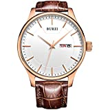 BUREI Men Watch Mens Precise Quartz Wristwatches with Day and Date Calendar Display Leather Strap (oro rosa)