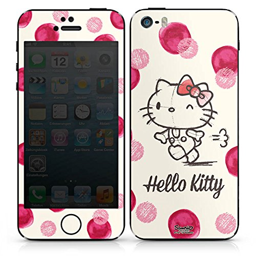 Apple iPhone SE Case Skin Sticker aus Vinyl-Folie Aufkleber Hello Kitty Fanartikel Merchandise Pünktchen DesignSkins® glänzend