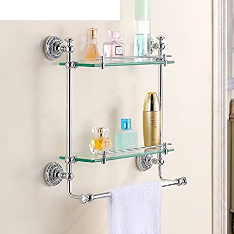 Copper engraved chrome plated double glass/European-style bathroom cosmetics shelving/Copper towel