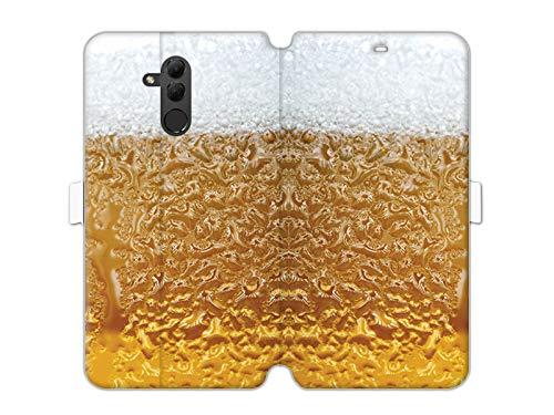 etuo Handyhülle für Huawei Mate 20 Lite - Hülle Wallet Book Fantastic - Bier mit Schaum - Handyhülle Schutzhülle Etui Case Cover Tasche für Handy