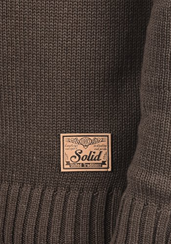 SOLID Pete Herren Strickjacke Cardigan Grobstrick mit Stehkragen aus hochwertiger Baumwollmischung Coffee Bean Melange (8973)