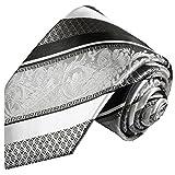 Paul Malone Silber schwarz gestreifte Krawatte 100% Seidenkrawatte