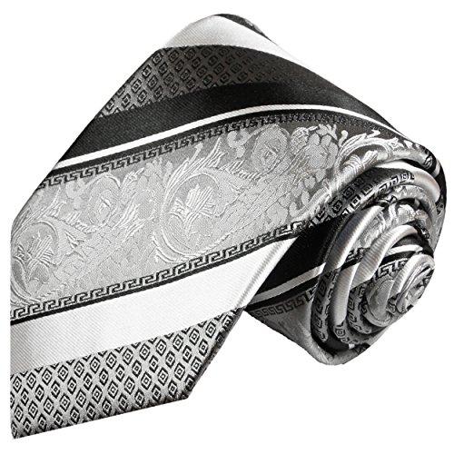 Paul Malone Silber schwarz gestreifte Krawatte 100{656d4f5289e0a458c84881d813368e4f195ddd86b98e3e4e0d3a88bf27a5c418} Seidenkrawatte