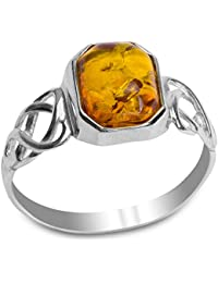 Ultimate Metals Co. ® Sterling Silver Baltic Amber Celtic Design Ring with Cognac Color Marquise Shape Center 68dtW