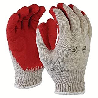 Azusa Safety L22110C Safety Gloves, Poly/Cotton, Large, White/Red by Azusa Safety