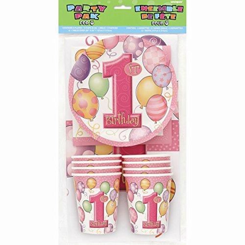 (1 Geburtstag Party Set Pink 8 x Teller Becher Tischdecke Serviette Neu)
