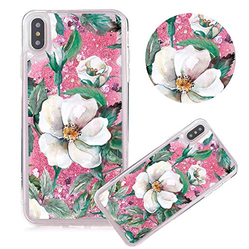 Rosa Glitzer Hülle für iPhone 6s,Flüssigkeit Silikon HandyHülle für iPhone 6,Moiky Luxuriös Mode Weiß Blume Muster Liebe Herzen Treibsand Pailletten Diamant Flexible Weich Gummi Hülle