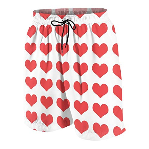 Ye Hua Herren Board Shorts Heart Valentines - Valentinstag, Valentinstag, Herz, Herz, Herz, Bright Red_2249 Badehose Surf Beach Holiday Party Badehose Strandhose XXL