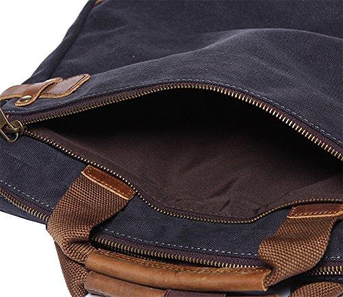 Genda 2Archer Valigetta da Laptop Leggera Sacchetto di Spalla di Viaggio Borsa del Messaggero (36cm*6cm*31cm) (Marrone) Grigio