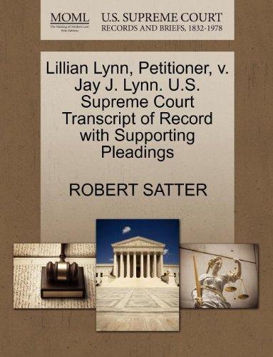 Lillian Lynn, Petitioner, v. Jay J. Lynn. U.S. Supreme Court Transcript of Record with Supporting Pleadings