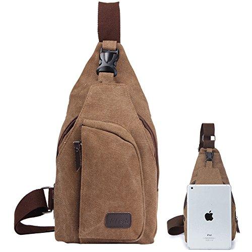 Termichy Coole Outdoor Sports beiläufige Segeltuch Unbalance Rucksack Umhängetasche Sling Bag Umhängetasche Brusttasche für Männer(Kaffee)