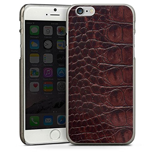 Apple iPhone 5s Housse étui coque protection Look cuir de crocodile Crocodile Motif CasDur anthracite clair