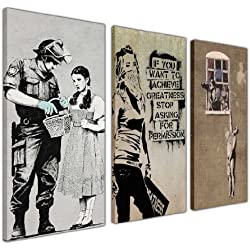 "Moderne Kunstwerke von Banksy, Leinwanddrucke, Bildkollektion, ""Cheating Wife"", ""Masked Arachist"", ""Police Searching Dorothy"", 3Stück, canvas holz, 1- 3 X 16"" X 8"" (3 X 40CM X 20CM)"