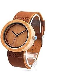 Relojes de madera de cuero genuino correas mujer tabla de madera elegante reloj de cuarzo clásico de madera de Eco reloj de moda reloj casual