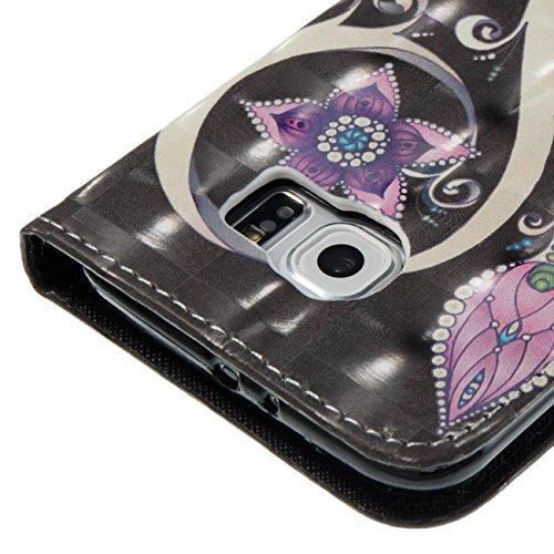 Galaxy S6 Hülle, Firefish Kickstand Brieftasche mit inneren Silikon Bumper Cover voller Schutzhülle mit Kreditkarteninhaber Kreative Geschenk für Geburtstag und Weihnachten für Samsung Galaxy S6-Tower Lila