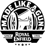 #9: Onlinemart pack of 2 Made like a gun Black STICKER DECAL STICKER for Royal Enfield BULLET/BIKE STICKER (11.5 Cm X 11.5 Cm)