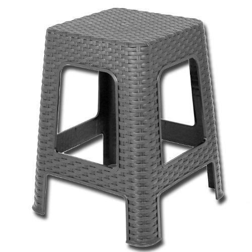 Hocker Rattan -Badhocker - Sitzhocker - Stuhl- Farbe: silber